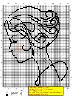 Lady silhouette x-stitch