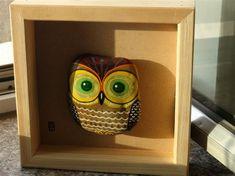 石趣部落手绘石头 猫头鹰 QQ249635143..Great hand painted owl...