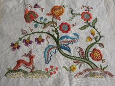 Antique Tree of Life colorful crewel embroidery