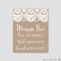 Printable Burlap and Lace Mimosa Bar Sign  by ShowerThatBrideShop
