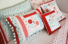 Bed pillows!  The Simple Life fabrics  Love the combo of red & aqua and mix of prints