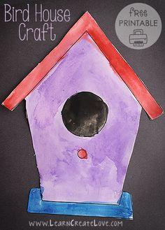 Bird House Printable Craft | LearnCreateLove.com