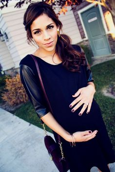 Stay on trend with this edgy leather sleeve dress by @Fourth Love! #maternity #bumpstyle