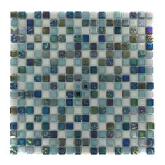 Shop 11 3/4 x 11 3/4 Whimsical Iridescent Teal Polished + Textured Glass Tile in Shades of Green, White + Iridescent at GlassTileStore.com.