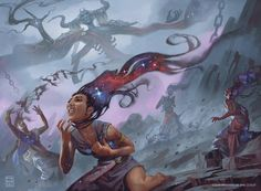 Underworld Dreams Theros Beyond Death AD: Dawn Murin WOTC This is a reprint of a Carl Critchlow image, and I did my best to pay a little homage to his art. Underworld Games, Death Art, Mtg Art, New Fantasy, Magic The Gathering Cards, Wizards Of The Coast, Fantasy Illustration, Gods And Goddesses, Skull Art