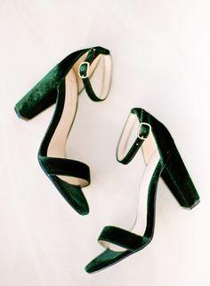 Emerald Green & Mustard Yellow Wedding Inspiration Green velvet block heels for wedding shoes Dr Shoes, Me Too Shoes, Shoes Heels, Shoes Sneakers, High Heels, Pumps, Anel Harry Potter, Mustard Yellow Wedding, Wedding Yellow