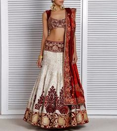 red and white wedding lengha, done right!