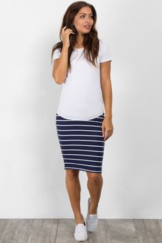 # Casual Outfits modest navy PinkBlush - Where Fashion Meets Motherhood Blue Skirt Outfits, Pencil Skirt Outfits, Spring Outfits, Pencil Skirts, Modest Dresses, Modest Outfits, Casual Outfits, Office Outfits, Cute Fashion