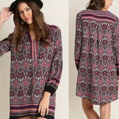 🌟: Boho Tunic Shift Umgee Festival Dress Bohemian mixed print tunic dress. Available in sizes small medium and large. *a2153 Dresses