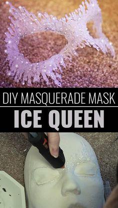Fun Crafts To Do With A Hot Glue Gun | Best Hot Glue Gun Crafts, DIY Projects and Arts and Crafts Ideas Using Glue Gun Sticks |  DIY-Masquerade-Mask-Ice-Queen  |   http://diyjoy.com/hot-glue-gun-crafts-ideas