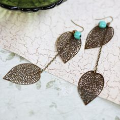 filigree leaves earrings by Violet Bella