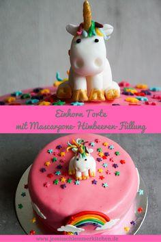 Pastel de unicornio con relleno de frambuesa y mascarpone - Kuchen - Mini Desserts, Easy Cake Recipes, Savoury Cake, Food Cakes, Homemade Cakes, Clean Eating Snacks, Cake Decorating, Easy Meals, Sweets