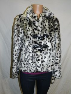 New Womens Guess Black White Faux Fur Animal Print Coat Jacket XL - INV#0311 #Guess #BasicCoat
