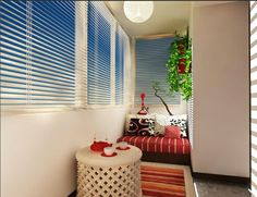 Designer balcony projects red, striped Edition