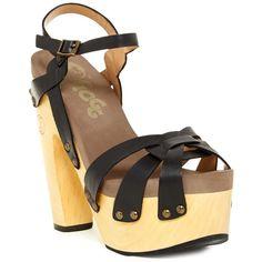 Flogg Rainbow Platform Sandal (75 AUD) ❤ liked on Polyvore featuring shoes, sandals, black leather, high heel platform sandals, black platform shoes, ankle strap platform sandals, black rainbow sandals and platform shoes