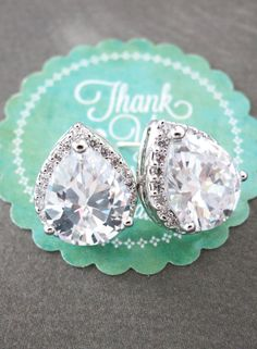 Wedding Bridesmaid Gift Bridal Earrings Bridesmaid Jewelry Clear White luxe Cubic Zirconia Teardrop Ear Studs