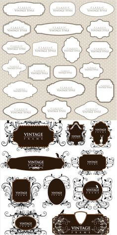 "2 Set with 30 vector classic vintage frames with decorative elements - flourish and swirls for your vintage designs. Format: EPS stock vector clip art and illustrations. Free for download. Set name: ""Classic vintage frames vector"" for Adobe Illustrator. Theme…"
