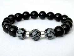 Onyx y copo de nieve obsidiana pulsera pulsera de cuentas, pulsera para hombre negro, joyas para hombre, pulseras de piedras preciosas, pulseras de estiramiento
