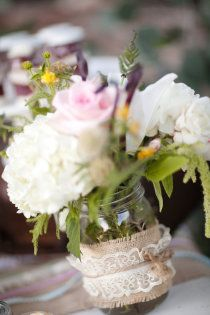 I really like the burlap and lace on the side of the jar!