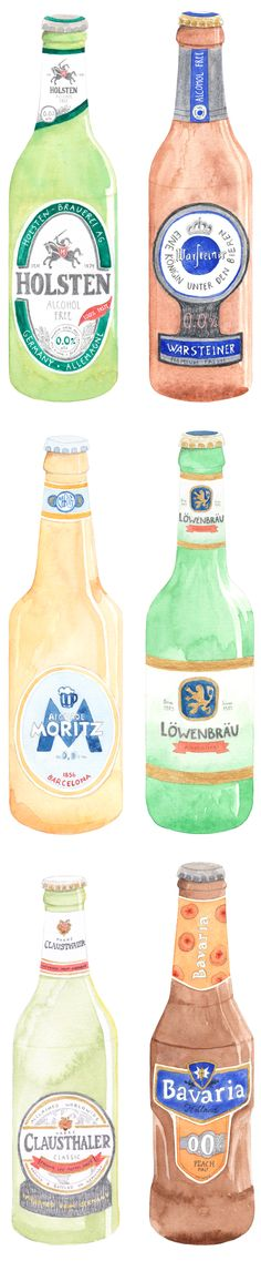 Illustrations to accompany a review of non-alcoholic beer. :: Frankie Magazine issue #45 by Amy Borrell