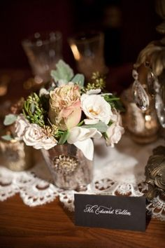 Mercury glass, votives and flowers Party Table Centerpieces, Rose Centerpieces, Rustic Wedding Centerpieces, Wedding Table, Wedding Blog, Wedding Styles, Wedding Decorations, 50s Wedding, Wedding Vintage