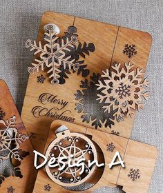 Multiple uses Wooden Christmas Card Design A - Laser Cut & Engrave
