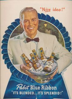 Pabst Blue Ribbon beer ad man with silver bowl of beer bottles 1947 man cave decor PBR