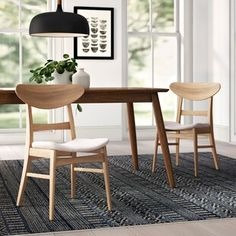 Hashtag Home Hahn Solid Wood Dining Chair Upholstery Color: Light Beige, Frame Color: Natural Walnut Contemporary Dining Chairs, Solid Wood Dining Chairs, Upholstered Dining Chairs, Dining Chair Set, Table And Chairs, Side Chairs, Dining Room, Kitchen Dining, Kitchen Chairs