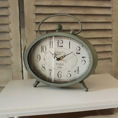 Grey Oval Paris Mantel Clock
