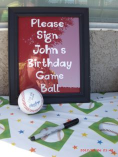 Dont know if the boys would be too young for this, but how cool to have his friends sign a baseball for him to keep.  so cute!!!! Baseball Party Games, Soccer Party, Sports Birthday Parties, Boy Birthday Themes, Kids Sports Party, Baseball Party Invitations, Baseball Theme Birthday, Birthday Party Games, Soccer Ball