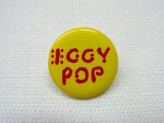 Vintage Very Early 80s Iggy Pop Yellow and Red Logo Pin / Button / Badge by beatbopboom on Etsy