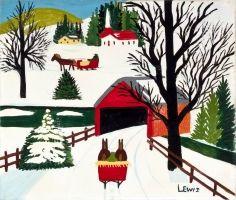 The Covered Bridge by Nova Scotia folk artist Maud Lewis 1903-1970