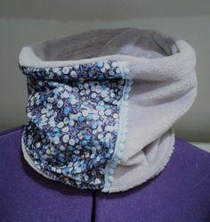 db16e89902e snood tour de cou simple ados femme en tissu liberty bleu gris et fausse  fourrure grise