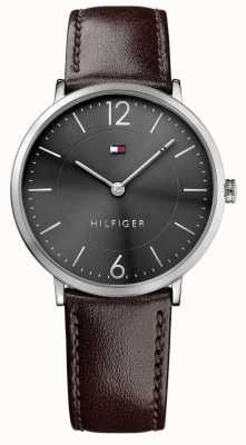 609447b72044 Tommy Hilfiger Mens James Brown Leather Strap Black Dial 1710352 Tommy  Hilfiger Watches