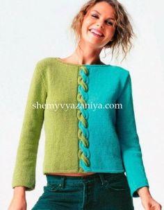 Двухцветный пуловер с центральной косой