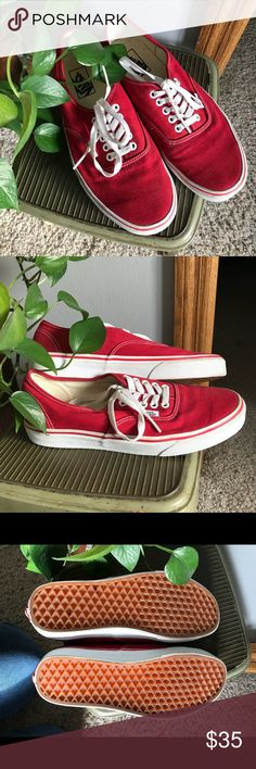 Red classic vans! The perfect classic red vans. Love my vans but I just didn't wear this color! Only worn twice so in really good condition! Vans Shoes Sneakers