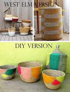 Make your own painted West Elm baskets. | 35 Money-Saving Home Decor Knock-Offs