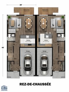 e Avec Garage that you must know, You?re in good company if you?re looking for Plan Maison Jumel?e Avec Garage Japan House Design, Row House Design, Minimal House Design, Duplex House Design, Town House Floor Plan, Small House Floor Plans, Model House Plan, House Layout Plans, House Layouts
