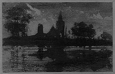 """""""Matin"""" (silhouettes de tours et clochers parmi les arbres). Hugo Victor, 1847."""