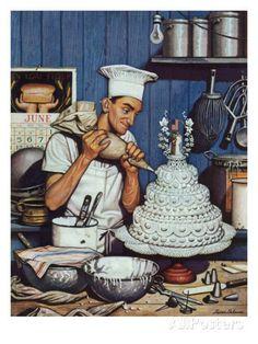 Stevan Dohanos- Icing the wedding cake ( Saturday Evening Post , Indianapolis, 16 june O bolo de casamento (ou de noiva, c. Wedding Art, Wedding Cakes, Canvas Art Prints, Painting Prints, Art Paintings, Norman Rockwell Art, Saturday Evening Post, Cake Cover, Le Chef