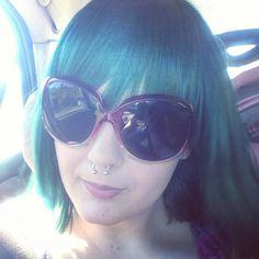Splat Aqua Rush Cat Eye Sunglasses, Sunglasses Women, Aqua Hair, Colorful Hair, Septum Ring, Hair Color, Eyes, My Style, Fashion