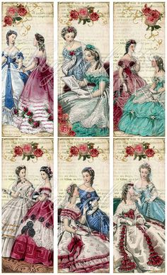 Amica Mia  Vintage Image  set of 6 bookmarks  by bydigitalpaper, $4.35