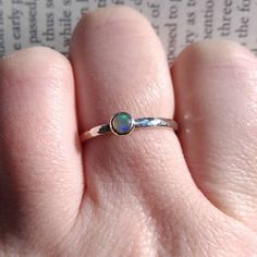 Welo Opal Ring in Sterling Silver, Simple Hammered Ring Band, Dainty Minimalist Stackable Ring, Genuine Ethiopian Opal Stone, Size by SilverlingStudio on Etsy Eternity Ring Diamond, Diamond Wedding Bands, Lace Jewelry, Jewelry Accessories, Handmade Jewelry, Thing 1, Dainty Ring, Art Deco Diamond, Welo Opal