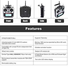 """Jumper T16 Pro Hall V2 Radio Transmitter Hall Gimbal 2.4G 16CH Open Source Multi-Protocol RC Transmitter JP4-in-1 RF Module 2.4G 16CH 4.3"""" LCD Transmitter with R1F Receiver(Mode 2 Left Hand Throttle),... New Electronic Gadgets, Gadget Store, Open Source, Left Handed, Jumper, Jumpers, Sweater"""