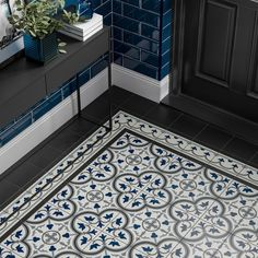With its patterned tiles, corner pieces and edges, the Pamplona range takes inspiration from classic Victorian flooring. Choose one of the four colour options and create your own unique layout by combining the tiles to suit the shape and size of your room Victorian Hallway Tiles, Victorian Flooring, Tiled Hallway, Hallway Paint, Hall Flooring, Kitchen Flooring, Cheap Kitchen Countertops, Entryway Flooring, Kitchen Backsplash