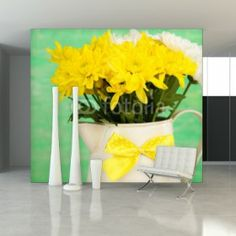 Fototapeta na ścianę - Piękne chryzantemy w dzbanie na drewnianym tle | Photograph wallpaper - BEAUTIFUL CHRYSANTHEMUM FLOWERS IN PITCHER ON WOODEN BACKGROUND| 152PLN #fototapeta #dekoracja_ściany #home_decor #interior_decor #photograph_wallpaper #wallpaper #flower #bouquet #bukiet_na_ścianie #wood #pitcher #yellow #chryzantemy #chryzanthemum