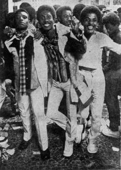 """Participants at a 1976 Bailes Black (black dance) in Rio de Janeiro. In the mid 1970s in many Brazilian cities where there were large concentrations of Afro-Brazilians, Bailes Black parties began to gain popularity. At the parties, black Brazilians danced to black American Soul and Funk music, sported afros (which they call """"black power"""") and began to express a new black pride in emulating styles coming out of the black community in the US."""