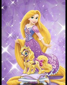 Rapanzel with her hores  cute disney!!!!!! Do you like disney?yes/no?