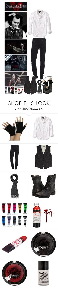 """Sweeney Todd ~ Sweeney Todd: The Demon Barber of Fleet Street- Day 9 of Halloween Count Down ~ Outfit #4"" by insane-alice-madness ❤ liked on Polyvore featuring Fleet Street, Banana Republic, True Religion, Polo Ralph Lauren, Frye, Manic Panic NYC, Sugarpill, ULTA, men's fashion and menswear"