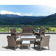 Atlantic Santorini Deluxe 7 Piece Grey Synthetic Wicker Patio Seating Set With Grey Cushions Sears $1238